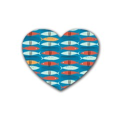 Go Fish  Fishing Animals Sea Water Beach Red Blue Orange Grey Heart Coaster (4 Pack)  by Jojostore