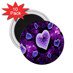 Hearts On Snake Pattern Purple Pink Love 2 25  Magnets (10 Pack)  by Jojostore