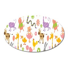 Kids Animal Giraffe Elephant Cows Horse Pigs Chicken Snake Cat Rabbits Duck Flower Floral Rainbow Oval Magnet by Jojostore