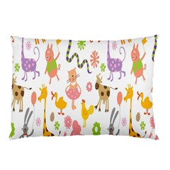 Kids Animal Giraffe Elephant Cows Horse Pigs Chicken Snake Cat Rabbits Duck Flower Floral Rainbow Pillow Case by Jojostore