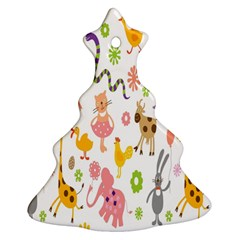 Kids Animal Giraffe Elephant Cows Horse Pigs Chicken Snake Cat Rabbits Duck Flower Floral Rainbow Ornament (christmas Tree)  by Jojostore