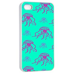 Jellyfish Pink Green Blue Tentacel Apple Iphone 4/4s Seamless Case (white) by Jojostore