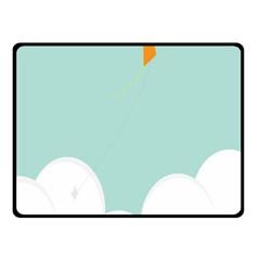 Minimalis Kite Clouds Orange Blue Sky Fleece Blanket (small) by Jojostore