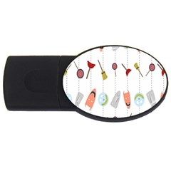 Mask Face Broom Candy Smile Helloween Usb Flash Drive Oval (2 Gb) by Jojostore