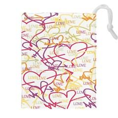 Love Heart Valentine Rainbow Color Purple Pink Yellow Green Drawstring Pouches (xxl) by Jojostore
