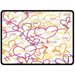 Love Heart Valentine Rainbow Color Purple Pink Yellow Green Double Sided Fleece Blanket (large)  by Jojostore