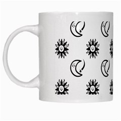 Month Moon Sun Star White Mugs
