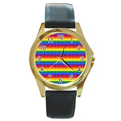 Love Valentine Rainbow Red Purple Blue Green Yellow Orange Round Gold Metal Watch by Jojostore