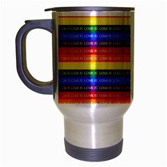 Love Valentine Rainbow Red Purple Blue Green Yellow Orange Travel Mug (silver Gray) by Jojostore