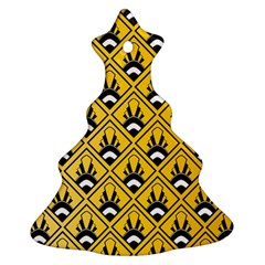 Original Honey Bee Yellow Triangle Christmas Tree Ornament (two Sides) by Jojostore