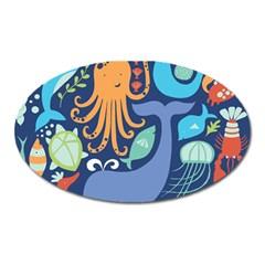 Sea Life Ikan Paus Duyung Kepiting Udang Ubur Ubur Penyu Karang Oval Magnet by Jojostore