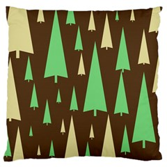 Spruce Tree Grey Green Brown Large Flano Cushion Case (two Sides) by Jojostore
