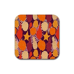 Tropical Mangis Pineapple Fruit Tailings Rubber Coaster (square)  by Jojostore