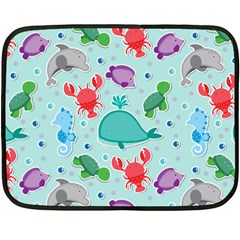 Turtle Crab Dolphin Whale Sea World Whale Water Blue Animals Double Sided Fleece Blanket (mini)  by Jojostore