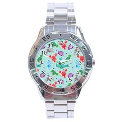 Turtle Crab Dolphin Whale Sea World Whale Water Blue Animals Stainless Steel Analogue Watch by Jojostore