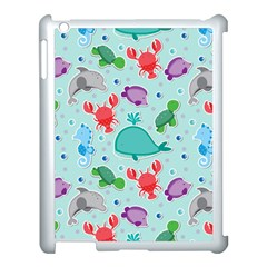Turtle Crab Dolphin Whale Sea World Whale Water Blue Animals Apple Ipad 3/4 Case (white) by Jojostore
