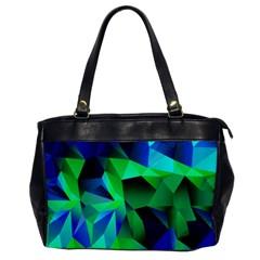 Galaxy Chevron Wave Woven Fabric Color Blu Green Triangle Office Handbags by Jojostore