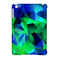 Galaxy Chevron Wave Woven Fabric Color Blu Green Triangle Apple Ipad Mini Hardshell Case (compatible With Smart Cover) by Jojostore