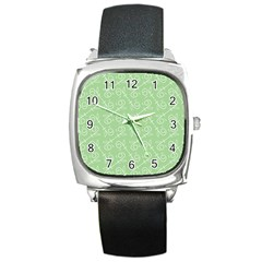 Formula Leaf Floral Green Square Metal Watch by Jojostore