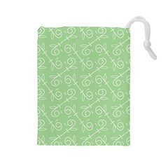 Formula Leaf Floral Green Drawstring Pouches (large)  by Jojostore