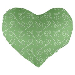 Formula Leaf Floral Green Large 19  Premium Flano Heart Shape Cushions by Jojostore