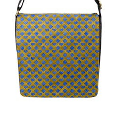 Diamond Heart Card Valentine Love Blue Yellow Gold Flap Messenger Bag (l)  by Jojostore