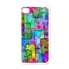 Rainbow Floral Doodle Apple Iphone 4 Case (white) by KirstenStar