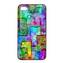 Rainbow Floral Doodle Apple Iphone 4/4s Seamless Case (black) by KirstenStar