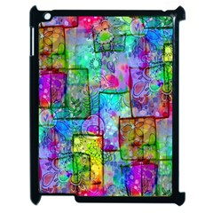 Rainbow Floral Doodle Apple Ipad 2 Case (black) by KirstenStar