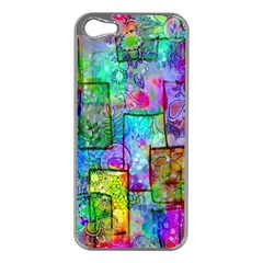 Rainbow Floral Doodle Apple Iphone 5 Case (silver) by KirstenStar