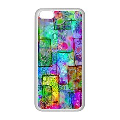 Rainbow Floral Doodle Apple Iphone 5c Seamless Case (white) by KirstenStar