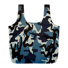 Blue Water Camouflage Full Print Recycle Bags (l)  by Nexatart