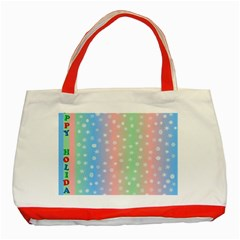 Christmas Happy Holidays Snowflakes Classic Tote Bag (red) by Nexatart