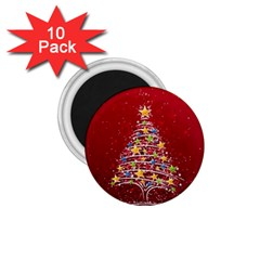 Colorful Christmas Tree 1 75  Magnets (10 Pack)  by Nexatart