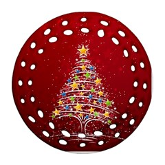 Colorful Christmas Tree Round Filigree Ornament (two Sides) by Nexatart