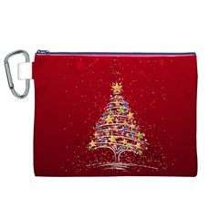 Colorful Christmas Tree Canvas Cosmetic Bag (xl)