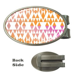 Geometric Abstract Orange Purple Pattern Money Clips (oval)  by Nexatart
