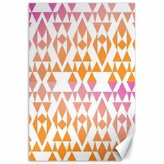 Geometric Abstract Orange Purple Pattern Canvas 24  X 36  by Nexatart