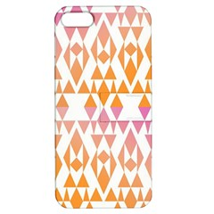 Geometric Abstract Orange Purple Pattern Apple Iphone 5 Hardshell Case With Stand by Nexatart