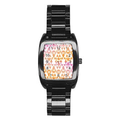 Geometric Abstract Orange Purple Pattern Stainless Steel Barrel Watch by Nexatart