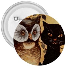 Owl And Black Cat 3  Buttons by Nexatart