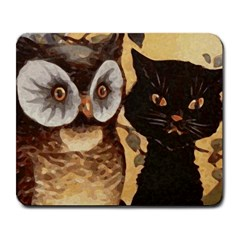Owl And Black Cat Large Mousepads by Nexatart