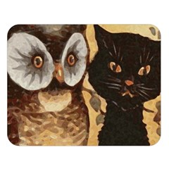 Owl And Black Cat Double Sided Flano Blanket (large)  by Nexatart
