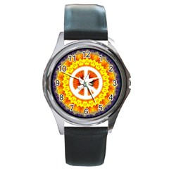 Peace Art Artwork Love Dove Round Metal Watch by Nexatart
