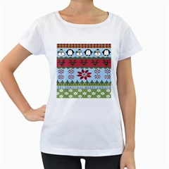 Ugly Christmas Xmas Women s Loose-Fit T-Shirt (White) by Nexatart