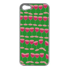 Wine Red Champagne Glass Red Wine Apple Iphone 5 Case (silver)