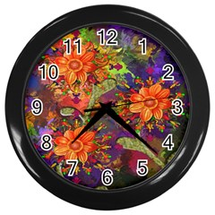 Abstract Flowers Floral Decorative Wall Clocks (black) by Nexatart