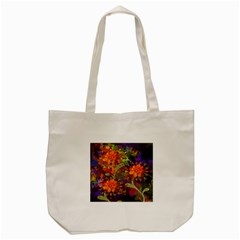 Abstract Flowers Floral Decorative Tote Bag (cream) by Nexatart