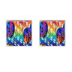 Abstract Mask Artwork Digital Art Cufflinks (square) by Nexatart