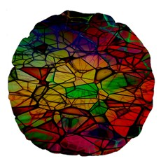 Abstract Squares Triangle Polygon Large 18  Premium Flano Round Cushions by Nexatart